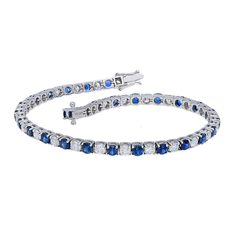 Deutsch Signature Blue Sapphires and Diamond Tennis Bracelet