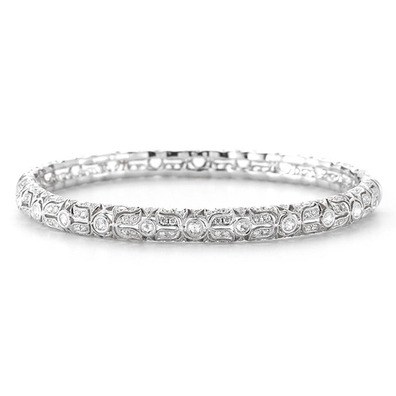 Deutsch Signature Flower Scroll Diamond Bangle with Rose Cuts