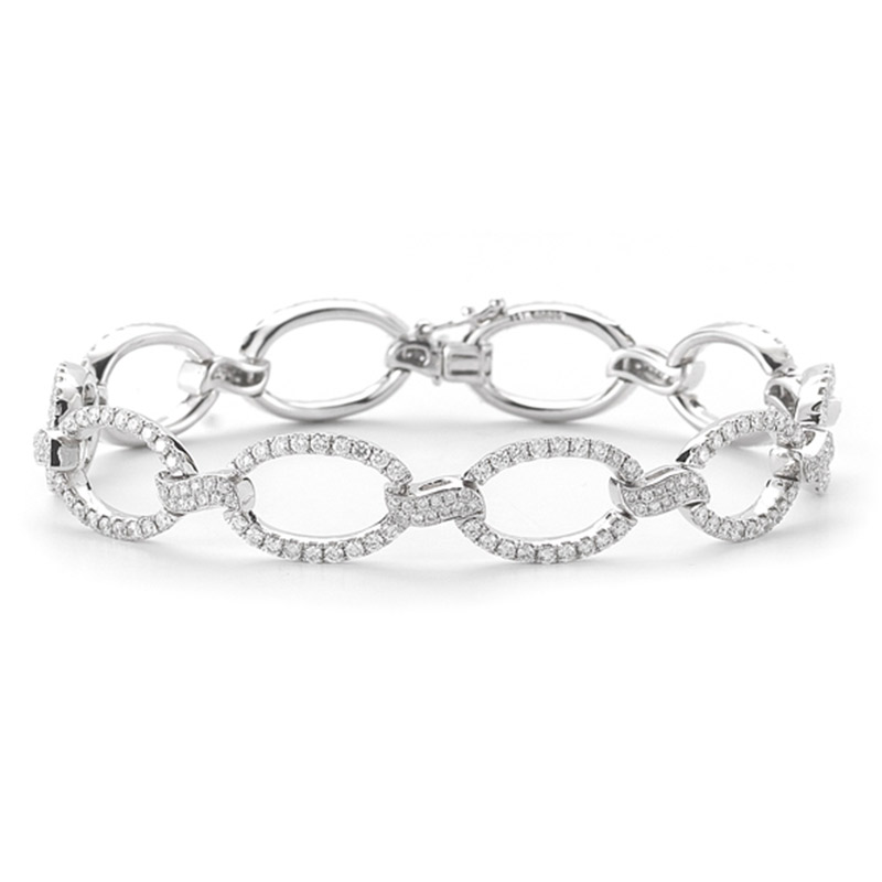 Deutsch Signature Diamond Marquise Shape Link Bracelet