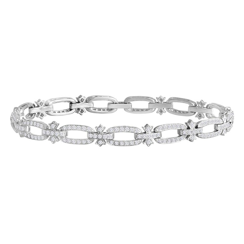 Deutsch Signature Oval Shape Diamond Link Bracelet