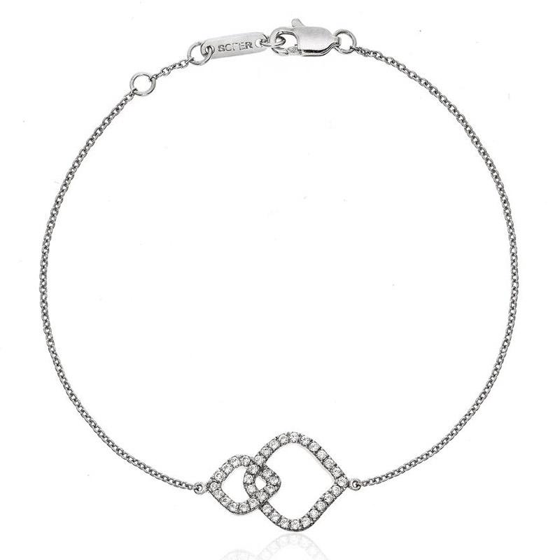 Deutsch Signature 2 Interlocking Diamond Curvy Cushion Shape Bracelet