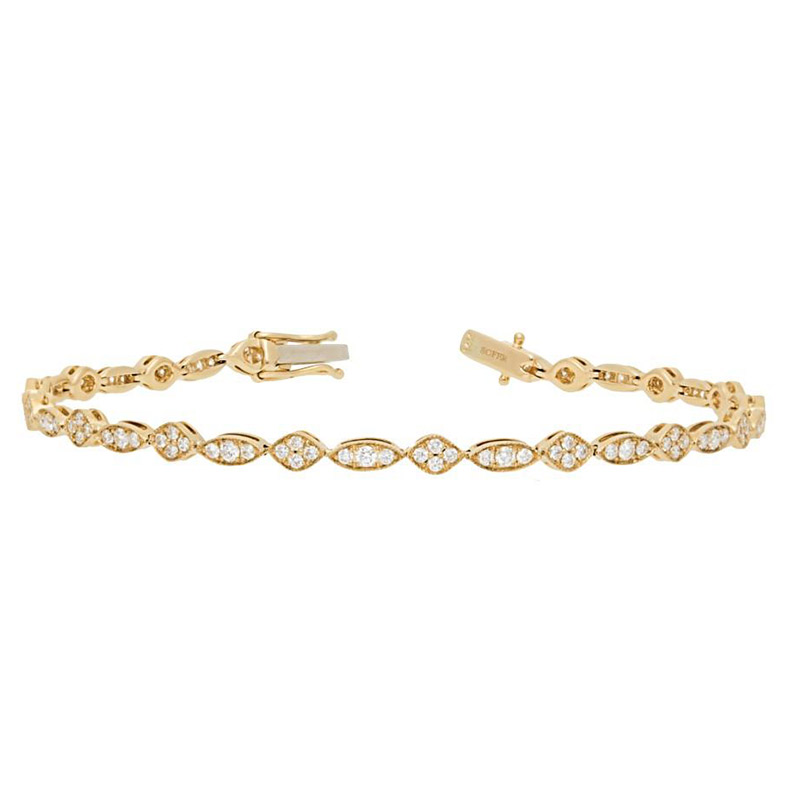 Deutsch Signature Alternating Marquise and Oval Shape Diamond Bracelet