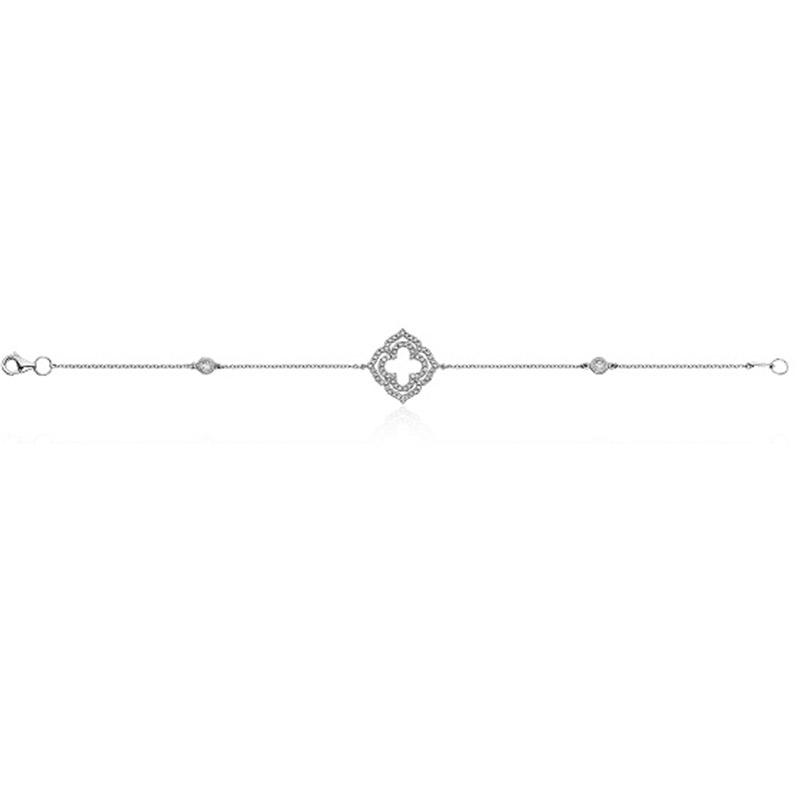 Deutsch Signature Double Open Diamond Pave Clover Bracelet