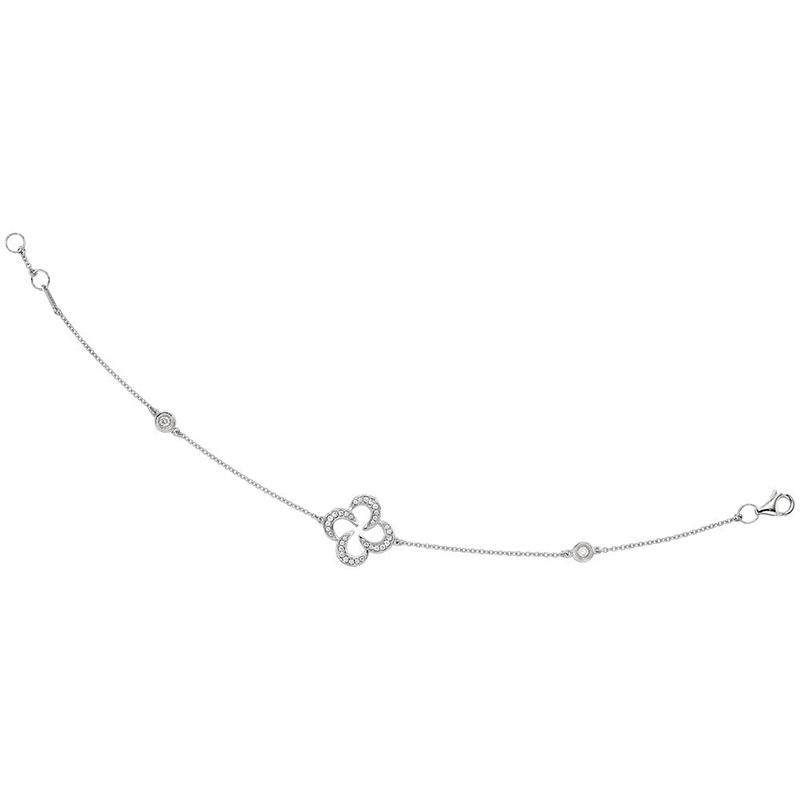 Deutsch Signature Pave Diamond Swirl Clover Bracelet