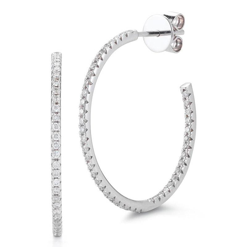 Deutsch Signature Diamond Stud Hoop Earrings, 1 inch