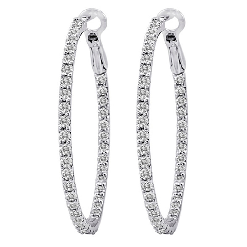 Deutsch Signature Diamond Hoop Earrings with Lever Back, 1 inch