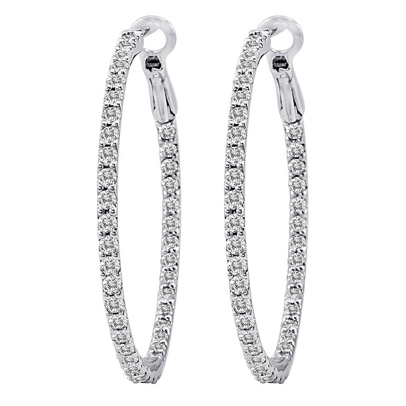 Deutsch Signature Diamond Hoop Earrings with Lever Back, 1.5 inches