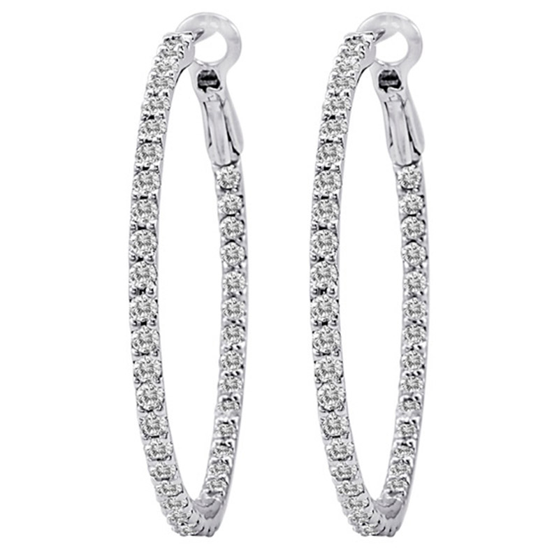 Deutsch Signature Diamond Hoop Earrings with Lever Back, 2 inches
