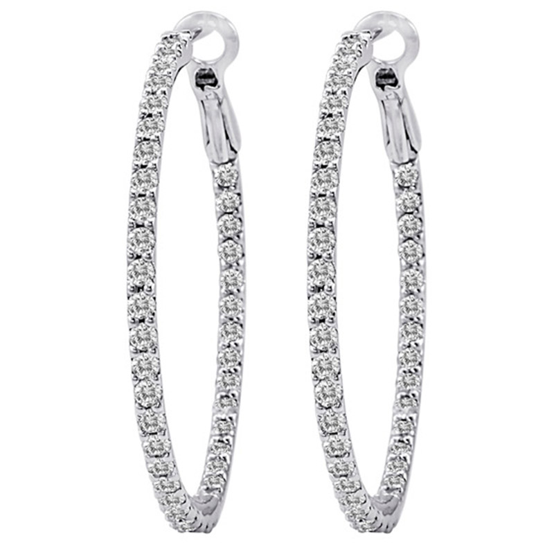 Deutsch Signature Diamond Hoop Earrings with Lever Back, 1 inch