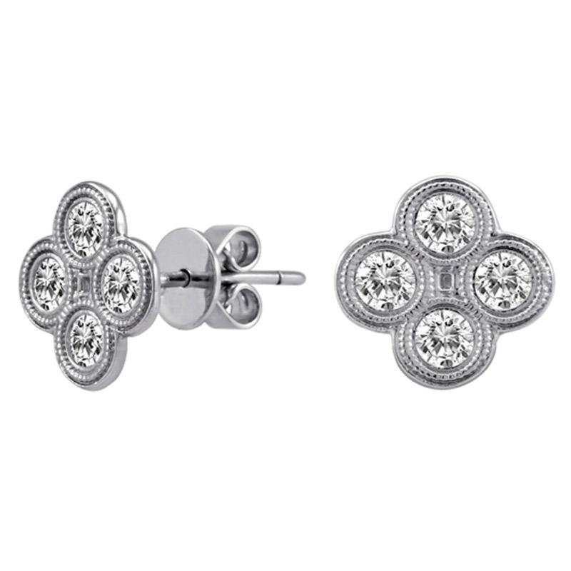 Deutsch Signature 4 Milgrain Bezel Diamond Stud Earrings