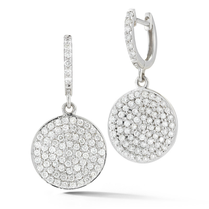 Deutsch Signature Pave Diamond Disc Drop Huggie Earrings