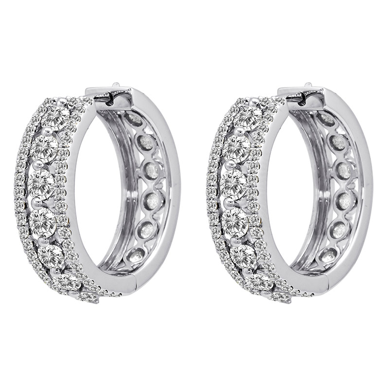 Deutsch Signature Diamond Center with Pave Border Huggie Earrings