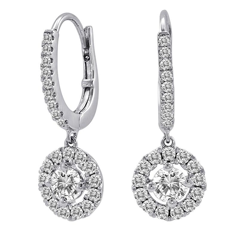 Deutsch Signature Diamond Huggie Earrings with Halo Diamond Drop