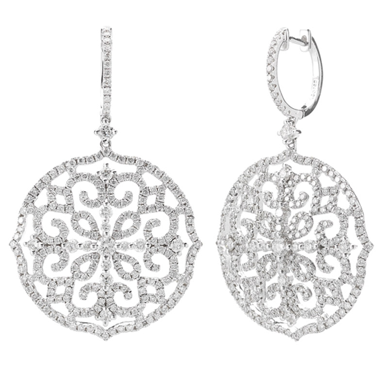 Deutsch Signature Diamond Huggie Earring with Medallion Drop