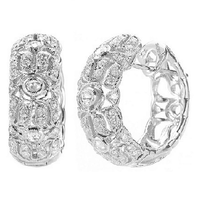 Deutsch Signature Antique Scroll Diamond Hoops with Rose Cuts