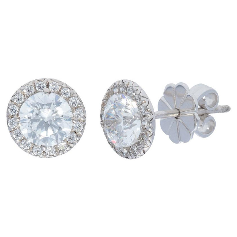 Deutsch Signature Diamond Halo Stud Earrings with 5.5mm Center