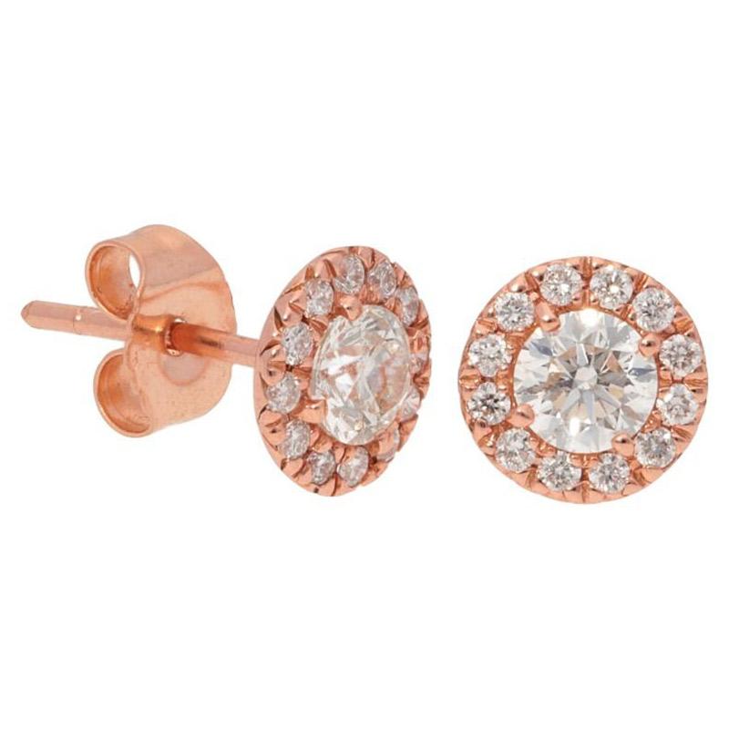 Deutsch Signature Diamond Halo Stud Earrings with 4mm Center