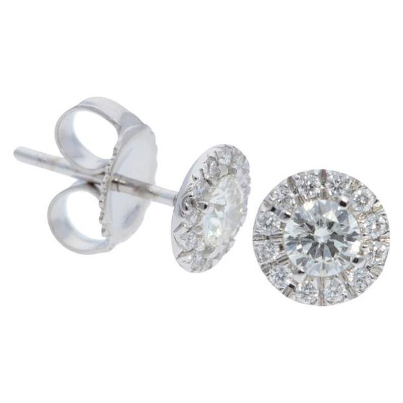 Deutsch Signature Diamond Halo Stud Earrings with 3.7mm Center
