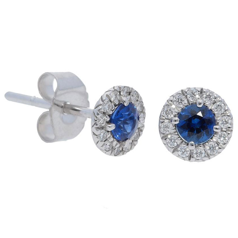 Deutsch Signature Blue Sapphire Diamond Halo Stud Earrings with 3mm Center