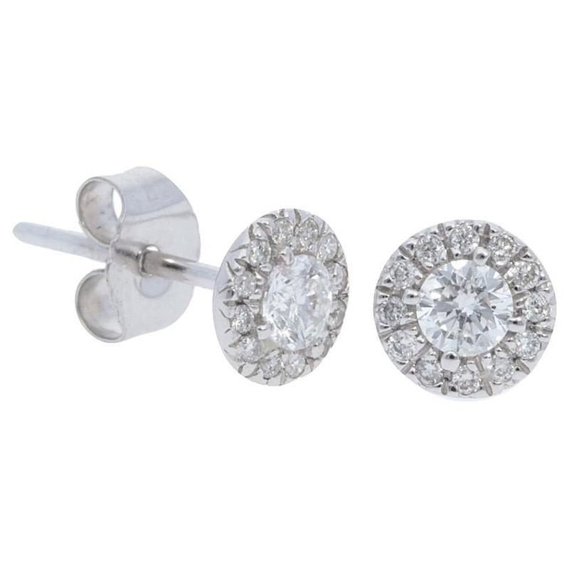 Deutsch Signature Diamond Halo Stud Earrings with 3mm Center