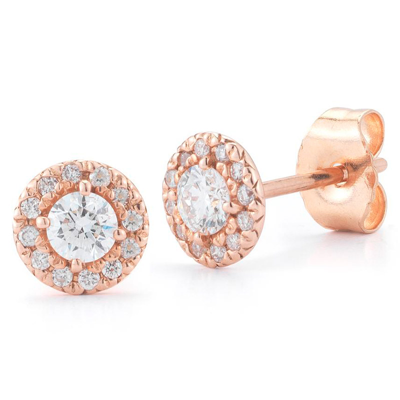 Deutsch Signature Diamond Halo Stud Earrings with 3mm Center