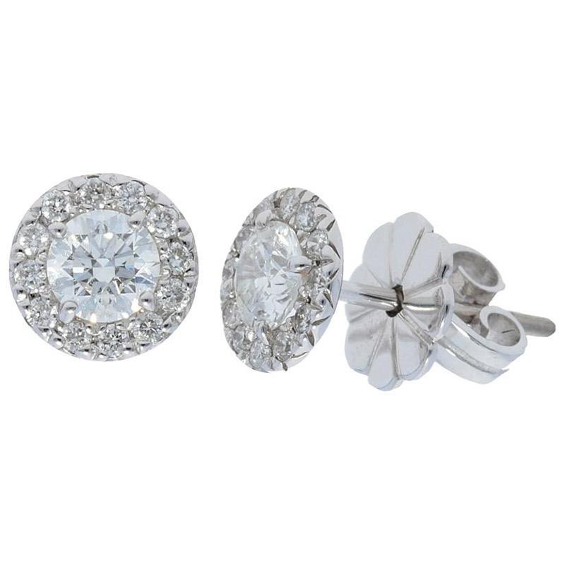 Deutsch Signature Diamond Halo Stud Earrings with 3.4mm Center