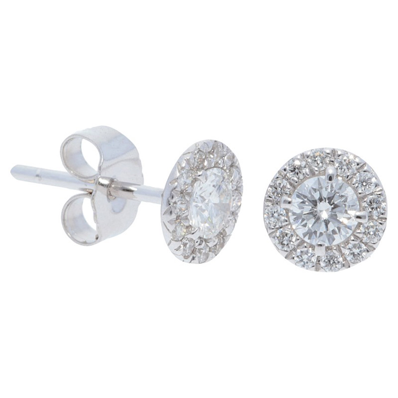 Deutsch Signature Diamond Halo Stud Earrings with 4.5mm Center