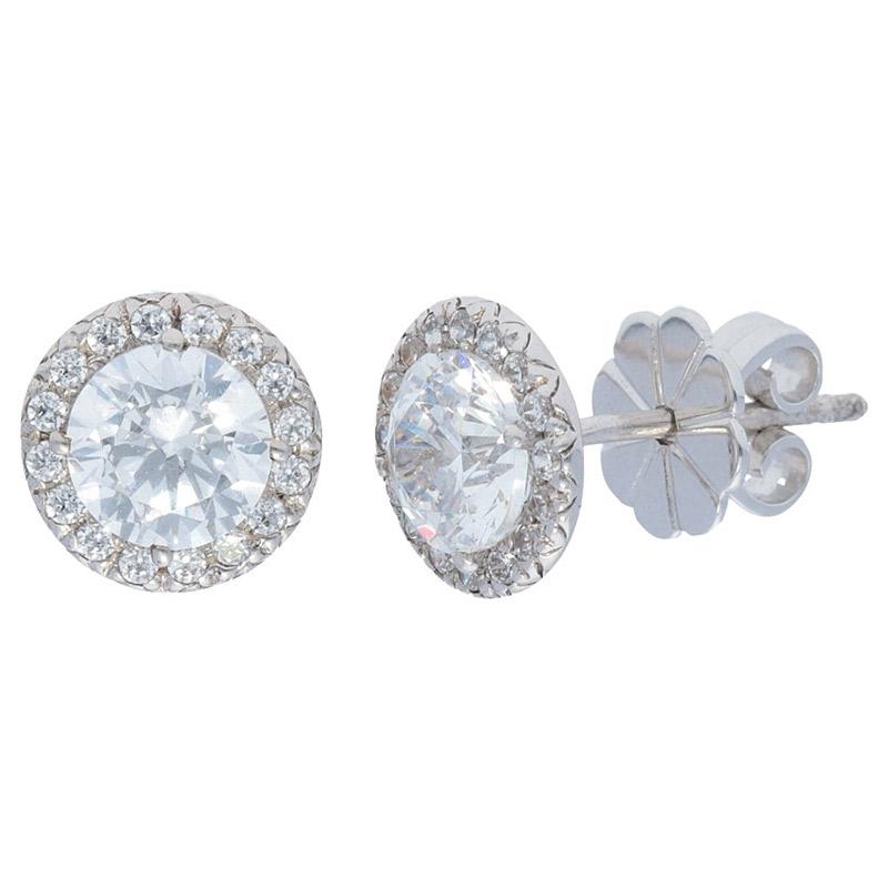 Deutsch Signature Diamond Halo Stud Earrings with 5.8mm Center