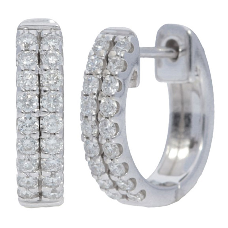 Deutsch Signature 2 Row Diamond Huggie Earrings