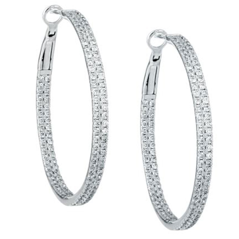 Deutsch Signature 2 Row Diamond Hoop Earrings with Lever Back, 1.5 inches