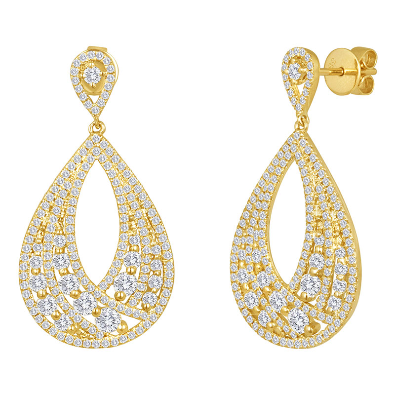 Deutsch Signature Diamond Pear Shape Drop Stud Earrings