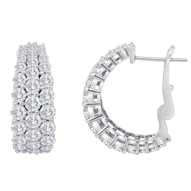 Deutsch Signature 3 Row Graduating Diamond Huggie Earrings