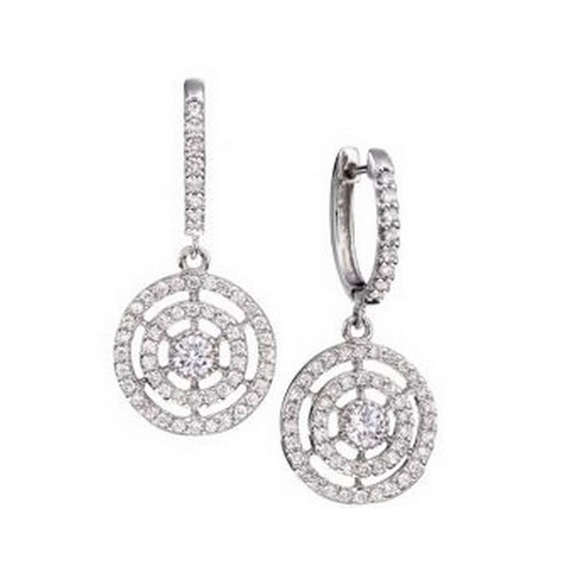 Deutsch Signature Diamond Circular Drop Huggie Earrings