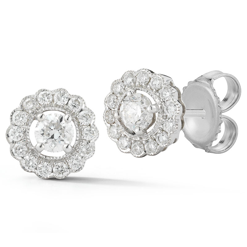 Deutsch Signature Diamond Flower Halo Stud Earrings