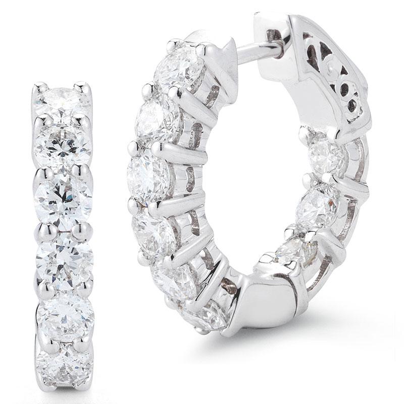 Deutsch Signature Inner and Outer Shared Prong Diamond Hoop Earrings