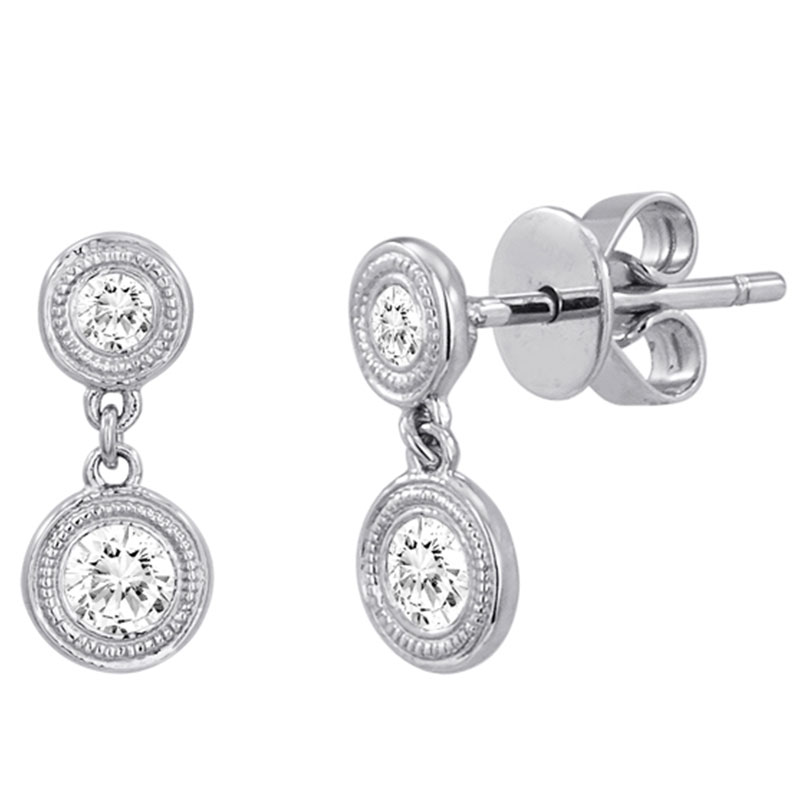 Deutsch Signature Diamond Milgrain Bezel Drop Earrings