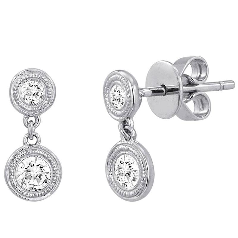 Deutsch Signature Diamond Milgrain Bezel Drop Earrings