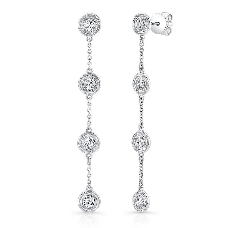 Deutsch Signature Diamond Milgrain Bezel Drop Stud Earrings