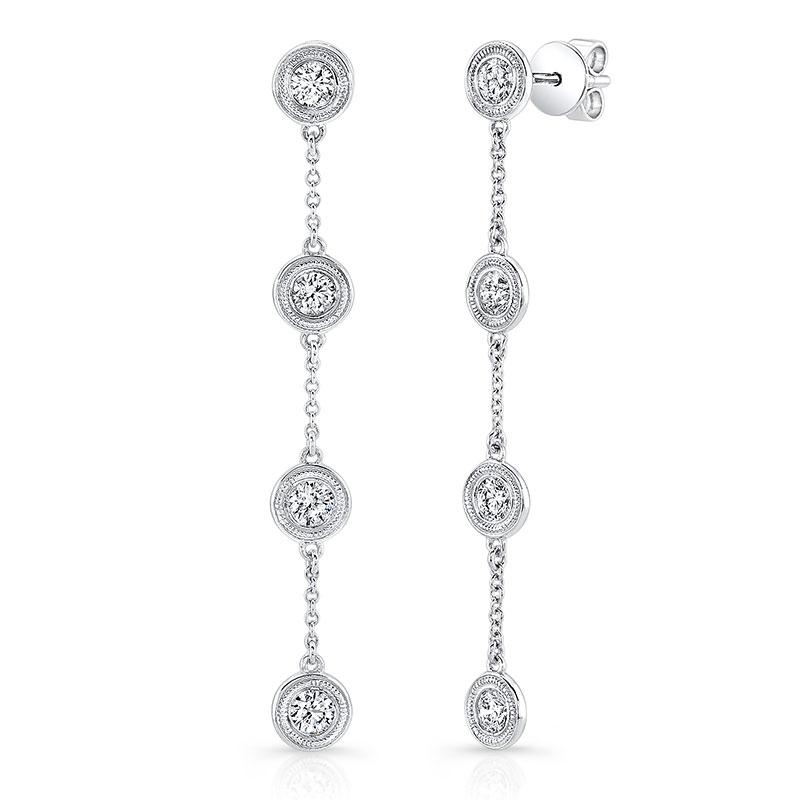 Deutsch Signature Diamond Milgrain Bezel Drop Stud Earrings