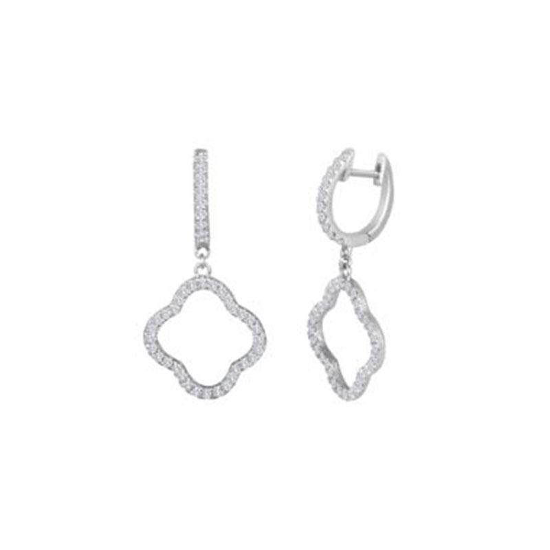 Deutsch Signature Diamond Open Clover Dangle Huggie Earrings