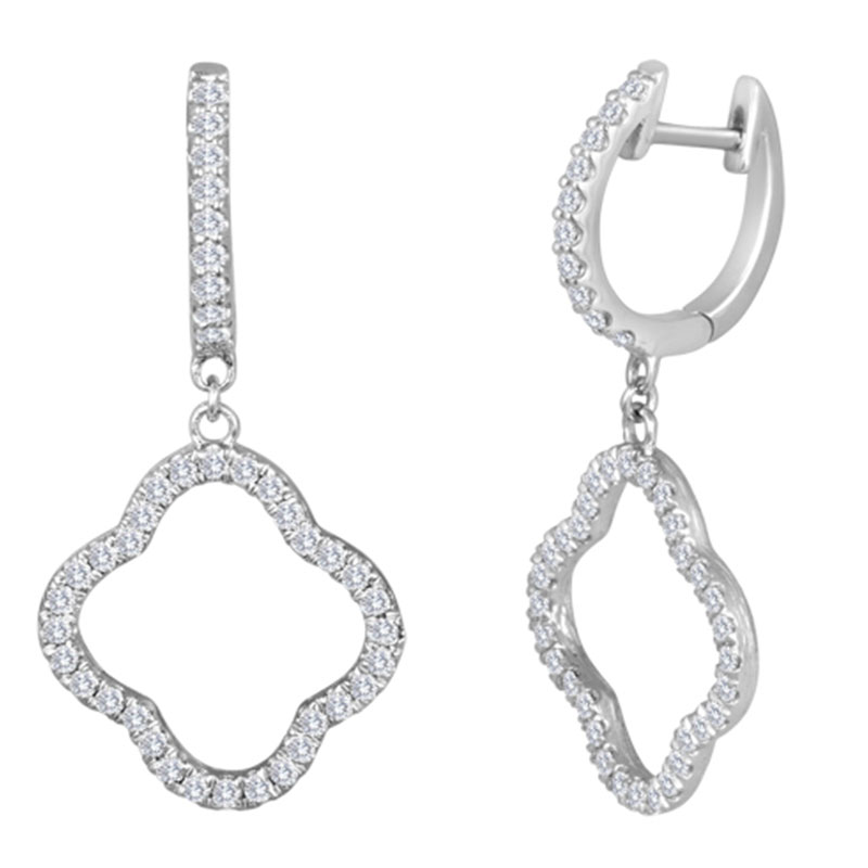 Deutsch Signature Diamond Open Clover Dangle Huggie Earrings