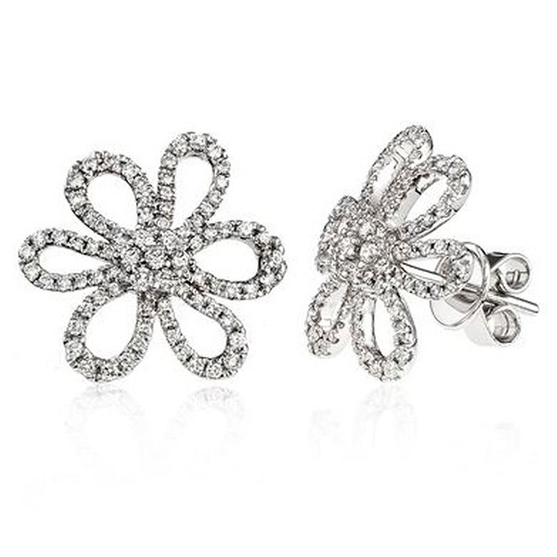 Deutsch Signature Open Pave Diamond Daisy Stud Earrings
