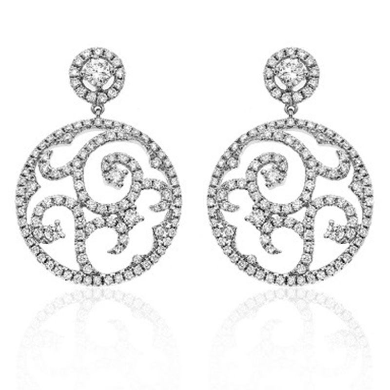 Deutsch Signature Pave Diamond Swirl Drop Stud Earrings