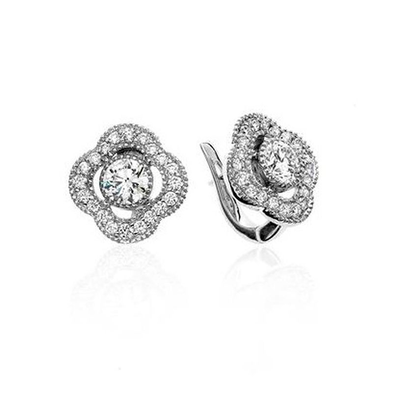 Deutsch Signature Diamond Earrings with Clover Border