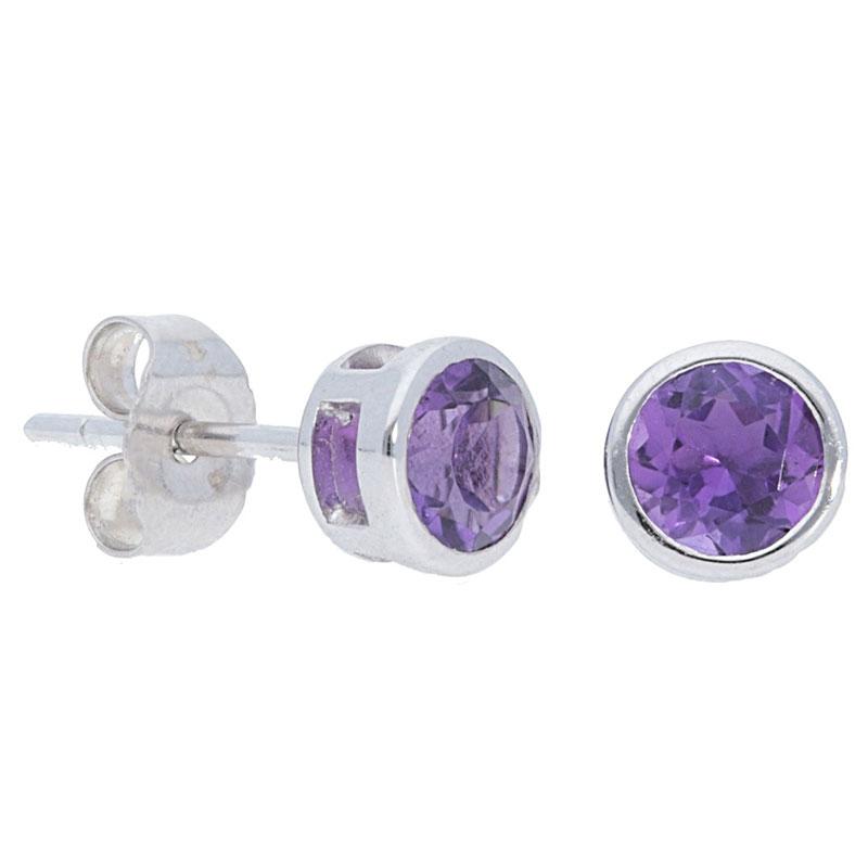 Deutsch Signature Plain Bezel Amethyst Stud Earrings