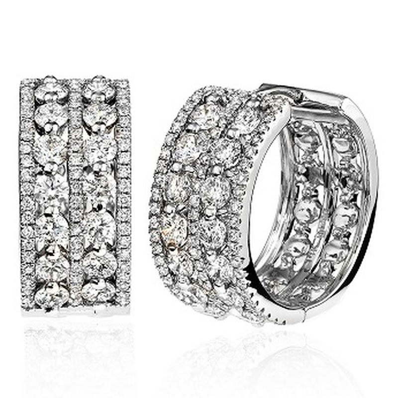 Deutsch Signature 2 Row Round Diamond Centers with Pave Border Huggie Earrings