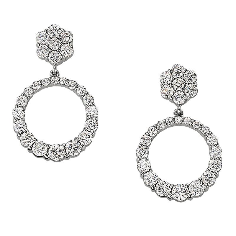 Deutsch Signature Graduating Diamond Circle Drop Stud Earrings