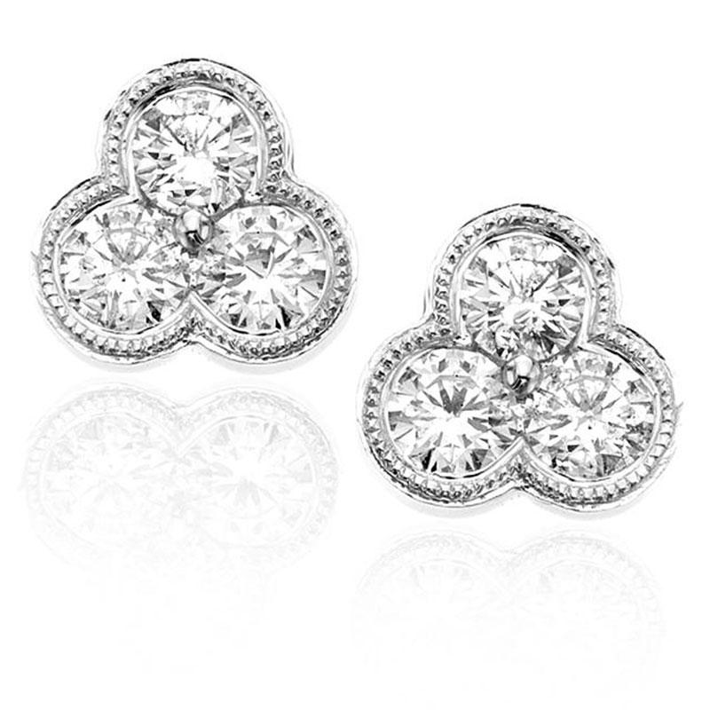 Deutsch Signature 3 Milgrain Bezel Diamond Cluster Stud Earrings
