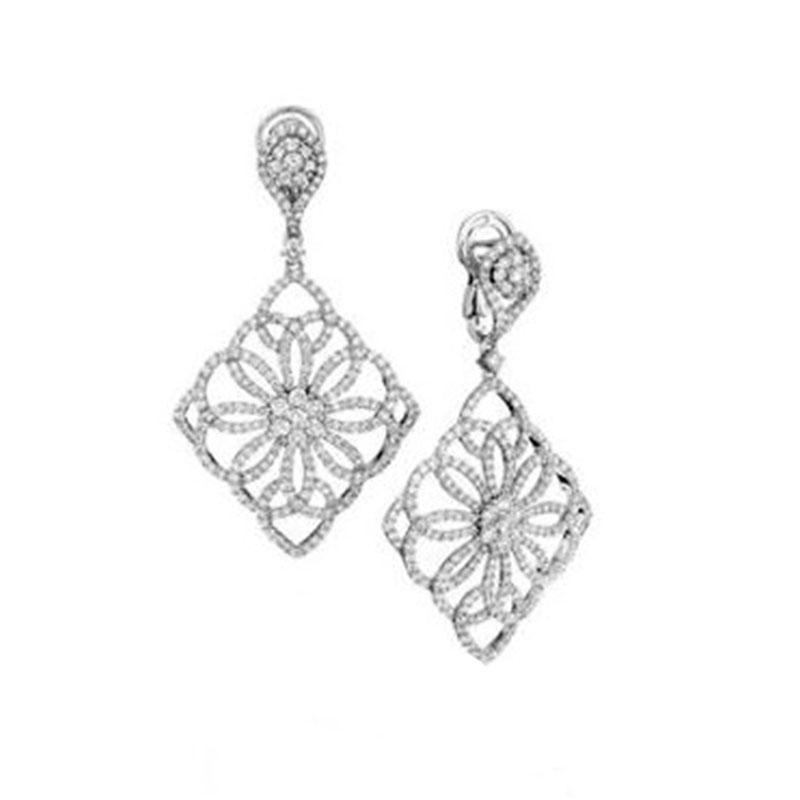 Deutsch Signature Diamond Antique Open Swirl Drop Stud Earrings