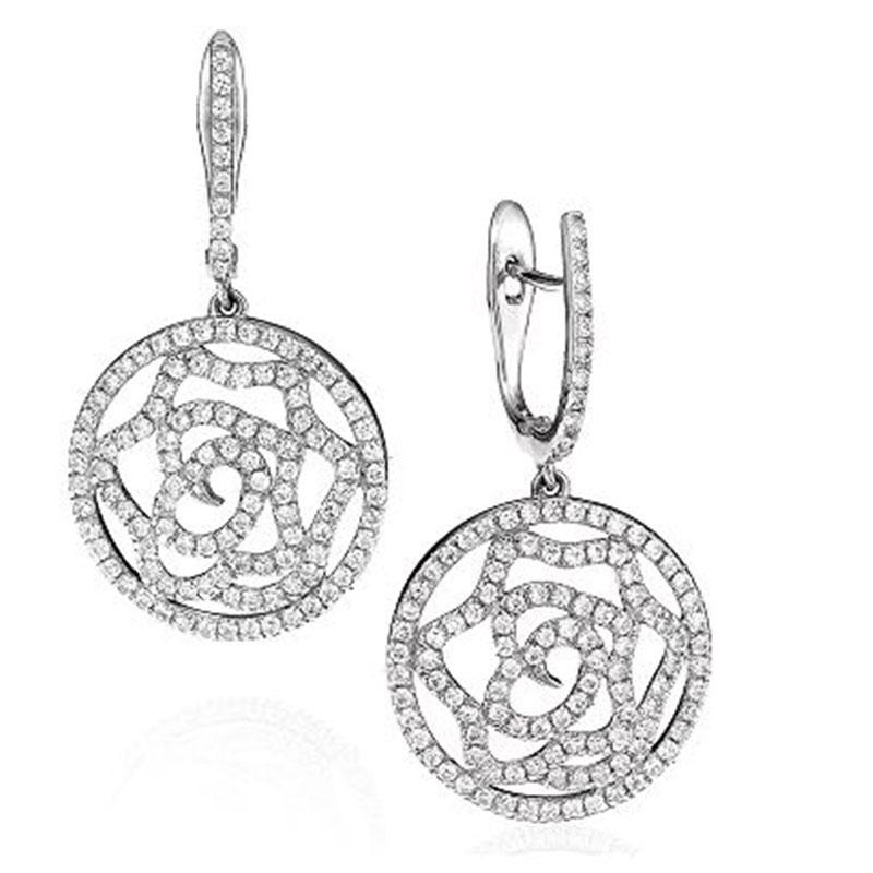 Deutsch Signature Open Pave Diamond Flower Drop Huggie Earrings